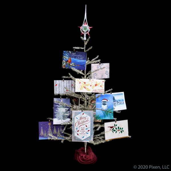 Antique Silver Tinsel Christmas Tree with card clips